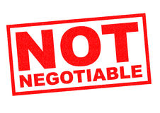 NOT NEGOTIABLE Stock Image