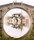 Not only one image. There is a beautiful building in the circle of the bridge Royalty Free Stock Photos
