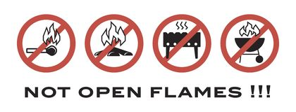 Not open flames. prohibiting signs. Flat icons on a white background Royalty Free Stock Image
