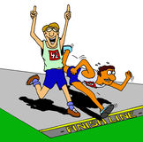 Not Over Until It's Over. Hand illustration of a runner celebrating win too soon, as another runner makes the effort to win the race Royalty Free Stock Images