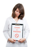 Not Passed. Sad physician student passed not difficult examination Royalty Free Stock Image