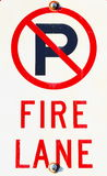 Not permitted sign. Not permitted to park on fire lane Stock Image