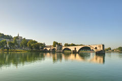 Not Repaired - The Popes Bridge. The Popes Bridge from the banks of the Rhone River in Avignon France Stock Photography