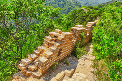 Not restoration view of Great Wall of China, section Royalty Free Stock Images