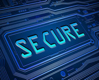 Not secure concept. Abstract style illustration depicting printed circuit board components with a secure concept Royalty Free Stock Photo