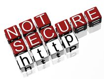 Not Secure Site http. TEXT Royalty Free Stock Photography