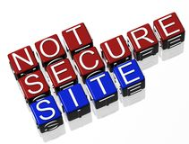 Not Secure Site http. TEXT Royalty Free Stock Image