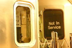 Not in Service. Two subway cars with the sign Not in Service Stock Photo
