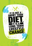 It Is Not Short Time Diet. It Is A Long Term Lifestyle Change. Nutrition Motivation Quote. On Grunge Rough Wall Background vector illustration