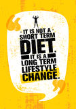 It Is Not Short Time Diet. It Is A Long Term Lifestyle Change. Nutrition Motivation Quote Stock Photos