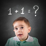 It is not simple calculation. Little child with blackboard with math calculation Royalty Free Stock Image