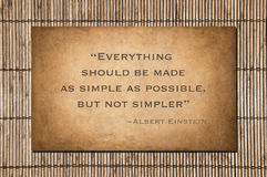 Not simpler quote by Einstein Royalty Free Stock Images
