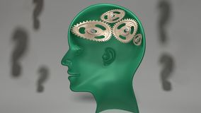 Not so smart - broken and twisted cogwheels in green human head. Not so smart - human head with twisted and misaligned wooden cogwheels inside, symbolizes Stock Photo