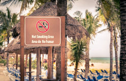 Not smoking area at the beach Stock Photos