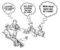 Not Talking. Business cartoon about people waiting to talk in a meeting stock illustration