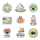 Not tested on animals cute multicolored icons (logos and stickers). Stock Image