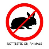 Not tested on animals mark. Prohibition sign. Rabbit in a red crossed out circle vector illustration