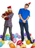 Not to all give gifts for new year and Christmas Stock Photo