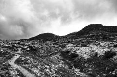 Not to forget human atrocities. Impressive black and white view of Monte Ortigara, on the Asiago plateau, where thousands of men die during the First World War royalty free stock photography