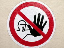 Not to touch sign Royalty Free Stock Photos