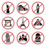 Not to visit landmarks icons Stock Image