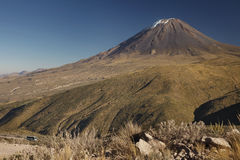 Not typical view of active volcano Misti. Arequipa, Peru Royalty Free Stock Photo