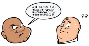 Not understanding. Cartoon illustration of guy speaking different language to another Royalty Free Stock Image