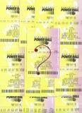Not winning  PowerBall lottery tickets. Stock Photo