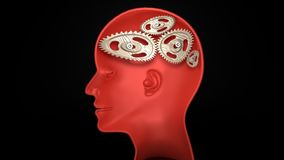 Not wise - human head profile with twisted, broken machinery instead of a brain. Not wise - human head with twisted and misaligned wooden cogwheels inside Stock Photos