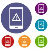 Not working phone icons set. In flat circle red, blue and green color for web Stock Image