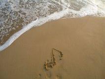 Nota acht over strand Royalty-vrije Stock Afbeeldingen