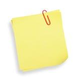 Nota adesiva amarela (com trajeto de grampeamento) Fotos de Stock