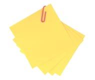 Nota adhesiva amarilla aislada Fotos de archivo libres de regalías