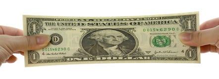 Nota allungata del dollaro US immagini stock