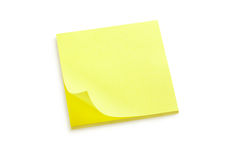 Nota amarela da etiqueta Fotos de Stock Royalty Free