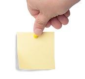 Nota amarilla con el contacto Fotos de archivo
