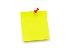 Nota amarilla de la etiqueta engomada Imagen de archivo libre de regalías