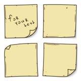Nota amarilla del palillo sobre el fondo blanco, ejemplo del vector Fotografía de archivo libre de regalías