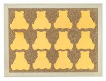 Nota amarilla del palillo sobre tablón de anuncios del corcho Fotografía de archivo libre de regalías