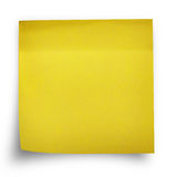 Nota amarilla del papel de la etiqueta engomada Imágenes de archivo libres de regalías