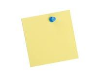 Nota amarilla del recordatorio con el contacto azul imágenes de archivo libres de regalías