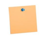 Nota anaranjada del recordatorio con el contacto azul imagen de archivo libre de regalías