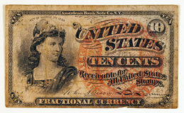 Nota antica di valuta frazionaria Immagine Stock