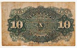 Nota antica di valuta frazionaria, posteriore Immagini Stock
