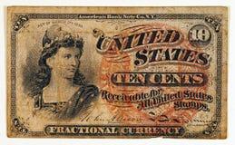 Nota antigua del dinero en circulación fraccionario Imagen de archivo