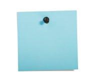 Nota azul del recordatorio con el contacto negro imagenes de archivo