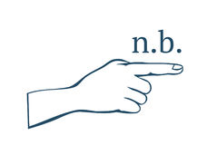 Nota bene  hand with index finger. Nota bene & x28;n.b.& x29; - Latin phrase.Text  with symbol of a little hand with index finger. Vector illustration EPS-8 Stock Images