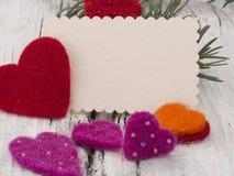 Nota in bianco di inverno con la decorazione Fotografia Stock