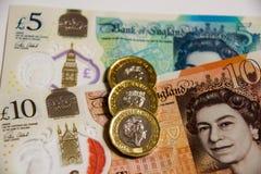 Nota BRITÂNICA da moeda do polímero do banco Foto de Stock Royalty Free