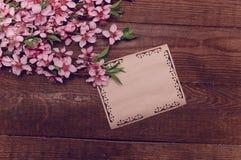 A nota, cartão, escrevendo o pêssego retro floresce em um vintage de madeira Fotos de Stock Royalty Free